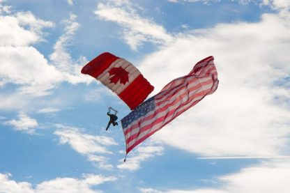 American and Canadian Flag Parachutes