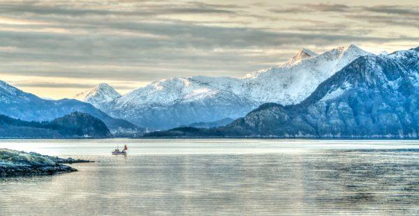 Norwegian-Swedish Lake with Mountain View