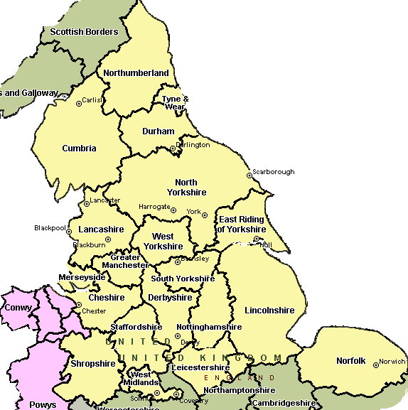 North of England Map with Counties